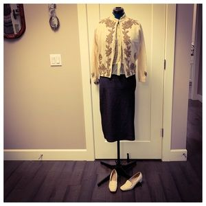 Vintage Cream Colored Beaded Cardigan Sweater